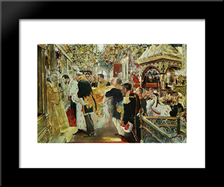 Coronation Of The Emperor Nicholas Ii In The Uspensky Cathedral: Modern Black Framed Art Print by Valentin Serov