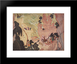 Curtain Design For Nikolai Rimski-Korsakov'S Ballet 'Sheherezade': Modern Black Framed Art Print by Valentin Serov