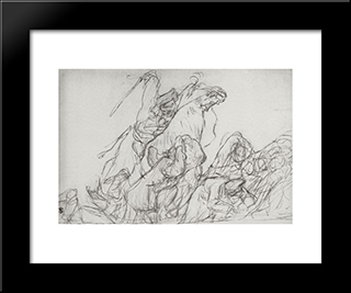 Dispersal Of The Cossacks Of Demonstrators In 1905: Modern Black Framed Art Print by Valentin Serov