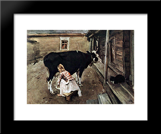 Farm Yard In Finland: Modern Black Framed Art Print by Valentin Serov