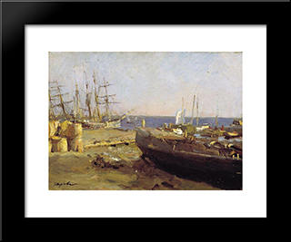 Fishing Vessels In Arkhangelsk: Modern Black Framed Art Print by Valentin Serov