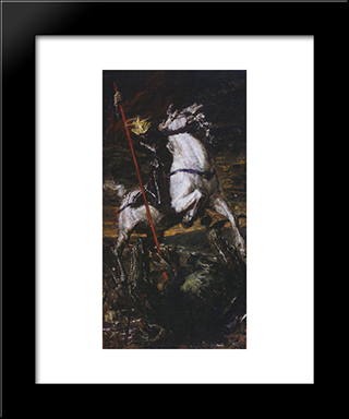 George The Victorious: Modern Black Framed Art Print by Valentin Serov