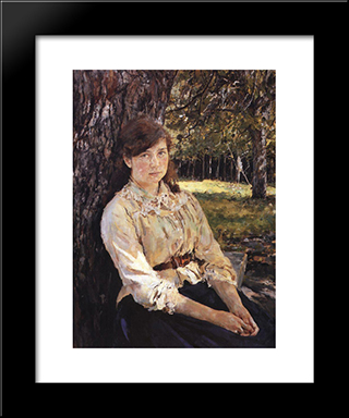 Girl In The Sunlight (Portrait Of M. Simonovich): Modern Black Framed Art Print by Valentin Serov