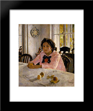 Girl With Peaches: Modern Black Framed Art Print by Valentin Serov