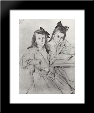 Girls N.A. Kasyanova And T. A. Kasyanova: Modern Black Framed Art Print by Valentin Serov