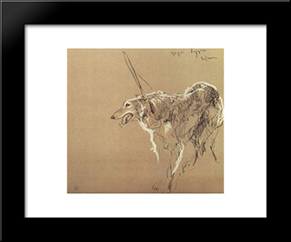 Greyhound Royal Hunting: Modern Black Framed Art Print by Valentin Serov
