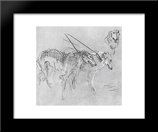 Greyhounds Royal Hunting: Modern Black Framed Art Print by Valentin Serov
