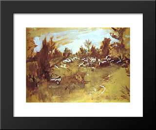Herd: Modern Black Framed Art Print by Valentin Serov