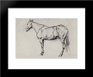 Horse: Modern Black Framed Art Print by Valentin Serov