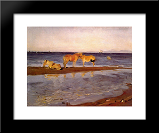Horses On A Shore: Modern Black Framed Art Print by Valentin Serov