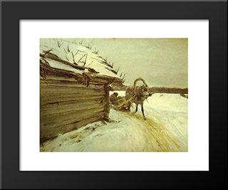 In Winter: Modern Black Framed Art Print by Valentin Serov