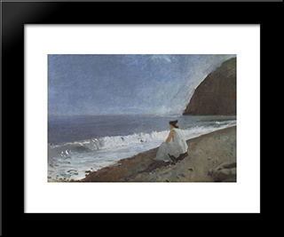 Iphigenia In Tauris: Modern Black Framed Art Print by Valentin Serov