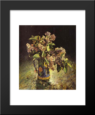 Lilacs In Vase: Modern Black Framed Art Print by Valentin Serov