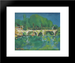 Bridge Over Sabar: Modern Black Framed Art Print by Vasile Popescu