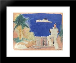 Composition With Sailor And Siren: Modern Black Framed Art Print by Vasile Popescu