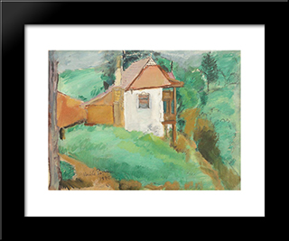 Little House In Predeal: Modern Black Framed Art Print by Vasile Popescu