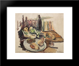Table With Fruits In Balchik: Modern Black Framed Art Print by Vasile Popescu
