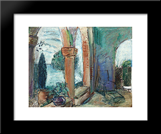 Terrace Of The Royal Palace In Balchik: Modern Black Framed Art Print by Vasile Popescu