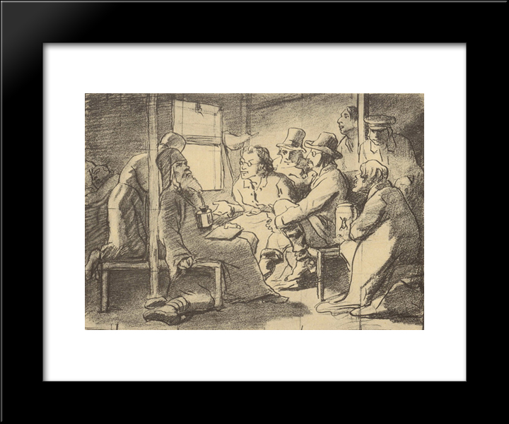 Dispute About Faith (A Scene In The Car): Modern Black Framed Art Print by Vasily Perov