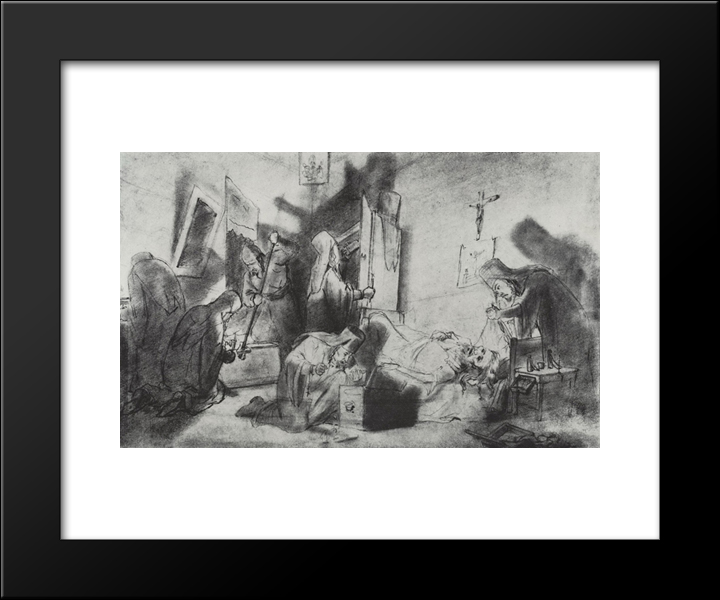 Dividing The Inheritance In A Monastery (Death Of A Monk): Modern Black Framed Art Print by Vasily Perov