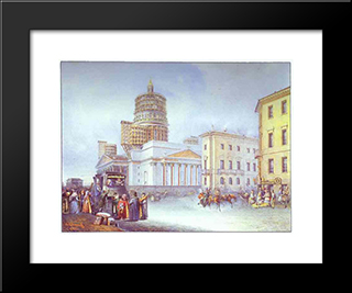 Departure Of An Omnibus From St. Isaac'S Square In St. Petersburg: Modern Black Framed Art Print by Vasily Sadovnikov