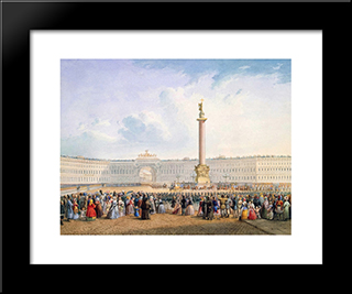 View Of Palace Square And The General Headquarters Building In St. Petersburg: Modern Black Framed Art Print by Vasily Sadovnikov