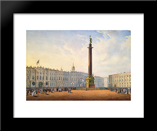 View Of Palace Square And Winter Palace In St. Petersburg: Modern Black Framed Art Print by Vasily Sadovnikov