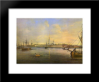 View Of The Neva And The Peter And Paul Fortress: Modern Black Framed Art Print by Vasily Sadovnikov