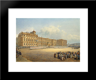 View Of The Winter Palace From The Admiralty: Modern Black Framed Art Print by Vasily Sadovnikov