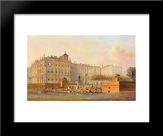 View Of The Winter Palace From The West: Modern Black Framed Art Print by Vasily Sadovnikov