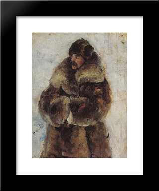 A. I. Surikov With Fur Coat. Study To Taking The Snow Town.: Modern Black Framed Art Print by Vasily Surikov