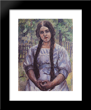 A Girl With Braids. Portrait Of A. A. Dobrinskaya.: Modern Black Framed Art Print by Vasily Surikov