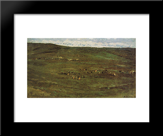 A Herd Of Horses In Baraba Steppes: Modern Black Framed Art Print by Vasily Surikov