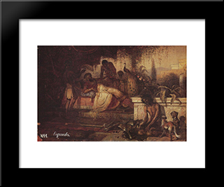 A Rich Man And Lazarus: Modern Black Framed Art Print by Vasily Surikov