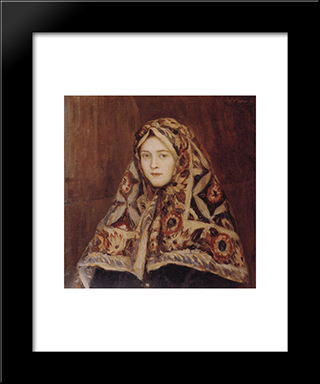 Anfisa: Modern Black Framed Art Print by Vasily Surikov