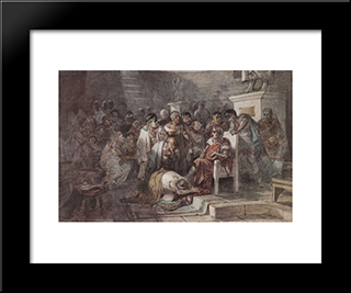 Assassination Of Julius Caesar: Modern Black Framed Art Print by Vasily Surikov