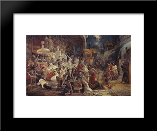 Belshazzar'S Feast: Modern Black Framed Art Print by Vasily Surikov