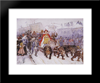 Big Masquerade In 1772 On The Streets Of Moscow With The Participation Of Peter I And Princer I. F. Romodanovsky: Modern Black Framed Art Print by Vasily Surikov