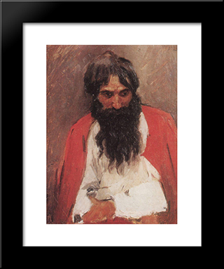 Blackbearded Old Man: Modern Black Framed Art Print by Vasily Surikov