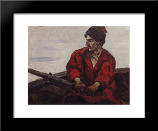 Boatsman: Modern Black Framed Art Print by Vasily Surikov