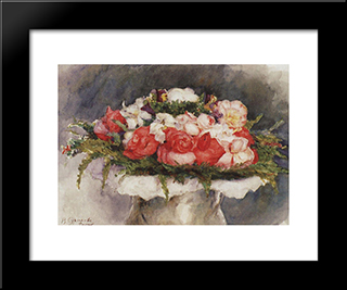 Bouquet: Modern Black Framed Art Print by Vasily Surikov