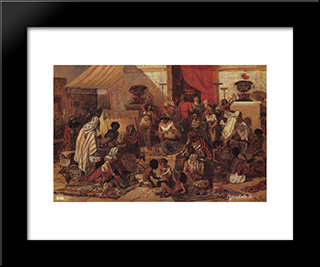 Christ Driving The Merchants From The Temple: Modern Black Framed Art Print by Vasily Surikov