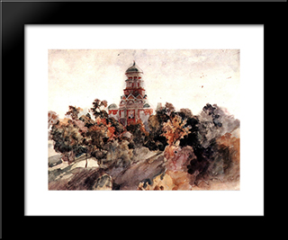 Church In The Village Dyakovo: Modern Black Framed Art Print by Vasily Surikov