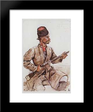 Cossack With Gun: Modern Black Framed Art Print by Vasily Surikov
