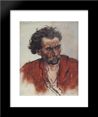 Cossack With Red Shirt: Modern Black Framed Art Print by Vasily Surikov