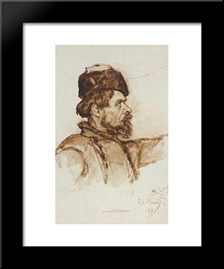 Cossack'S Head: Modern Black Framed Art Print by Vasily Surikov