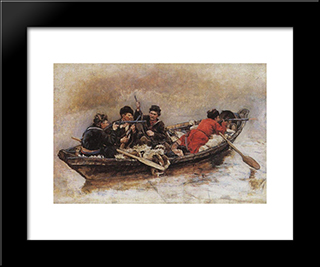 Cossacks In Boat (Study To The Conquest Of Siberia By Yermak): Modern Black Framed Art Print by Vasily Surikov