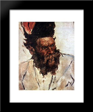 Don Cossack Rjidin (Study To The Conquest Of Siberia By Yermak): Modern Black Framed Art Print by Vasily Surikov
