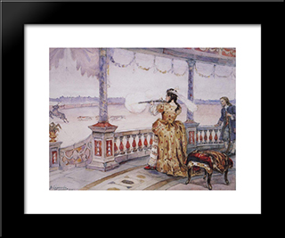 Empress Anna Ioannovna In Peterhof Temple Shoots Deer: Modern Black Framed Art Print by Vasily Surikov