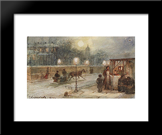 Evening In Petersburg: Modern Black Framed Art Print by Vasily Surikov